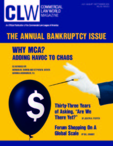 "Image of CLLA's publication Commercial Law World featuring Joe Peiffer's article Thirty-three Years of Asking, ""Are we There Yet?"""