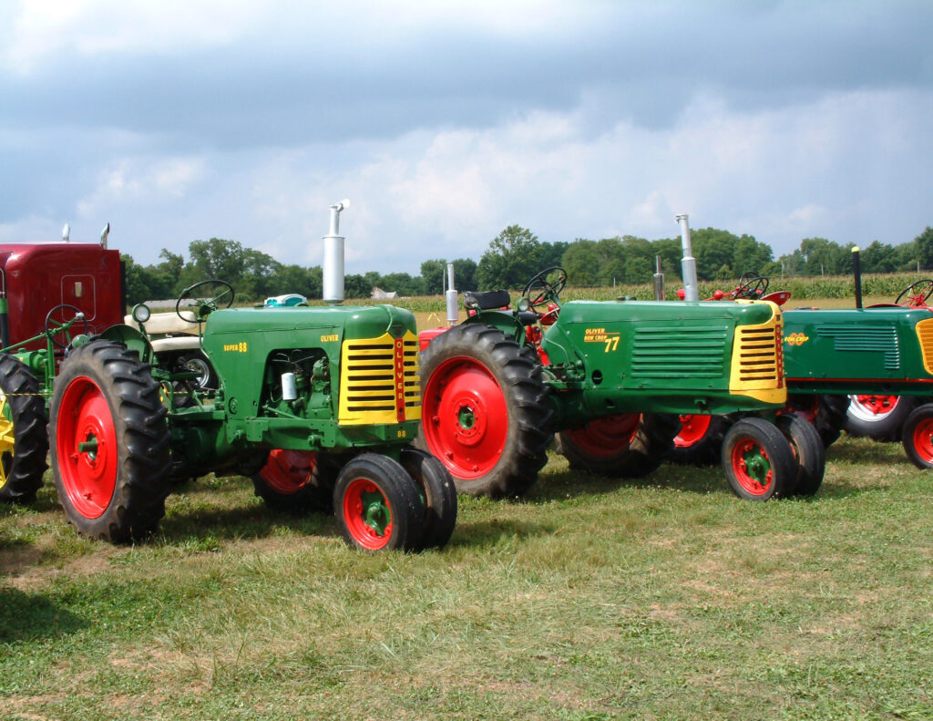 Image of Oliver brand tractors.